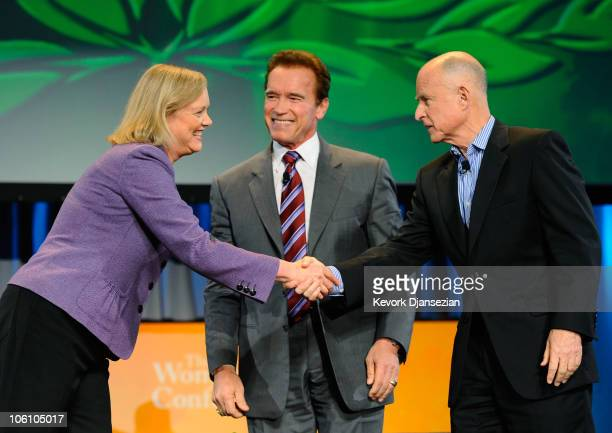 California Gov Arnold Schwarzenegger joins California Republican gubernatorial candidate and former eBay CEO Meg Whitman and California Attorney...