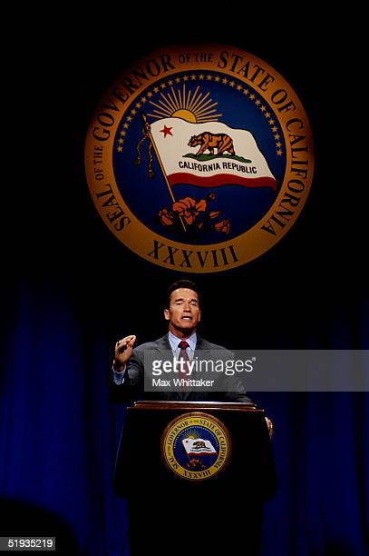 California Gov Arnold Schwarzenegger presents his 200506 proposed budget for the state January 10 2005 in Sacramento California The $1117 billion...
