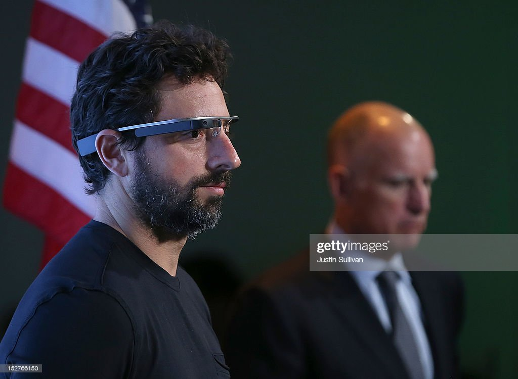 California Gov. Jerry Brown (R) and Google co-founder Sergey Brin look on during a news conference at Google headquarters on September 25, 2012 in Mountain View, California. California Gov. Jerry Brown signed State Senate Bill 1298 that allows driverless cars to operate on public roads for testing purposes. The bill also calls for the Department of Motor Vehicles to adopt regulations that govern licensing, bonding, testing and operation of the driverless vehicles before January 2015.