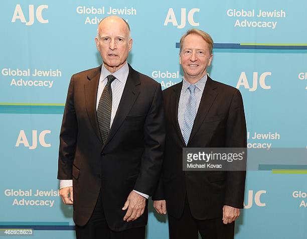 California Gov Jerry Brown and honoree David Bohnett arrive at the AJC Los Angeles' Ira E Yellin Community Leadership Award at Regent Beverly...