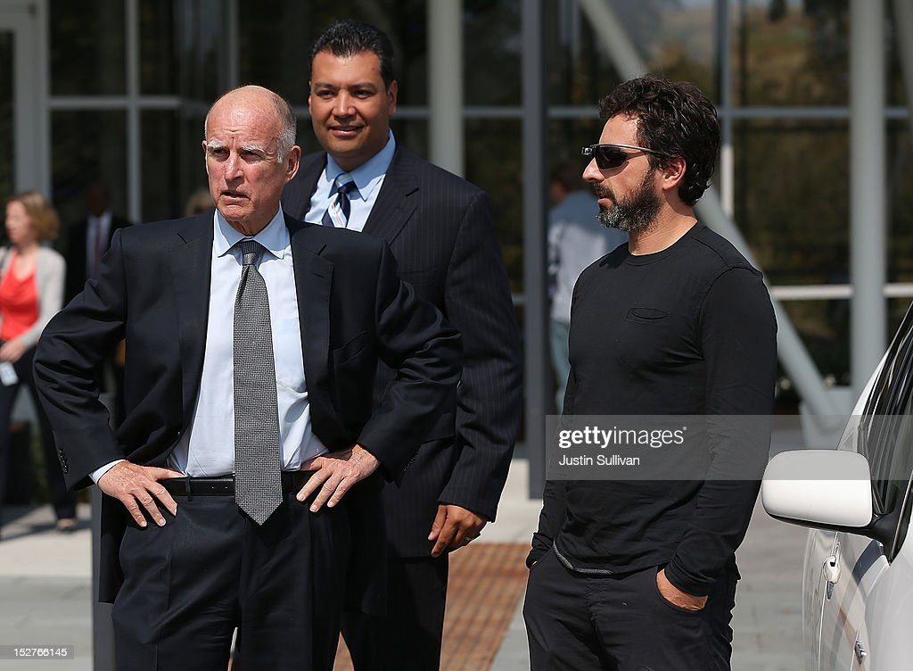 California Gov. <a gi-track='captionPersonalityLinkClicked' href=/galleries/search?phrase=Jerry+Brown&family=editorial&specificpeople=217599 ng-click='$event.stopPropagation()'>Jerry Brown</a>, California State Sen. Alex Padilla and Google co-founder <a gi-track='captionPersonalityLinkClicked' href=/galleries/search?phrase=Sergey+Brin&family=editorial&specificpeople=753551 ng-click='$event.stopPropagation()'>Sergey Brin</a> look on after riding in a self-driving car at the Google headquarters on September 25, 2012 in Mountain View, California. California Gov. <a gi-track='captionPersonalityLinkClicked' href=/galleries/search?phrase=Jerry+Brown&family=editorial&specificpeople=217599 ng-click='$event.stopPropagation()'>Jerry Brown</a> signed State Senate Bill 1298 that allows driverless cars to operate on public roads for testing purposes. The bill also calls for the Department of Motor Vehicles to adopt regulations that govern licensing, bonding, testing and operation of the driverless vehicles before January 2015.