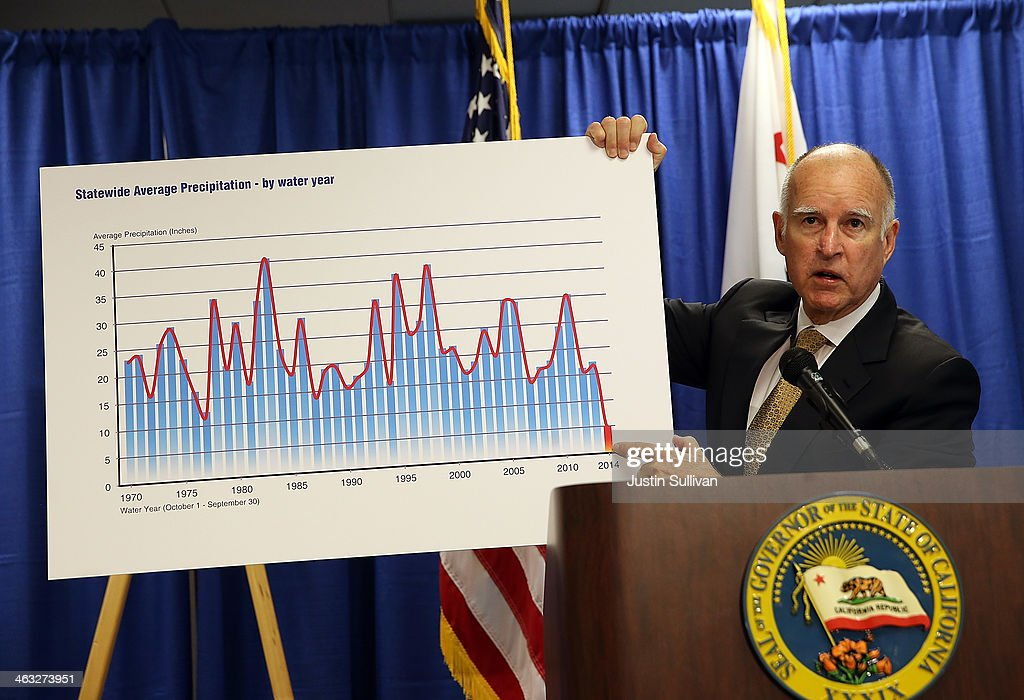 California Gov. <a gi-track='captionPersonalityLinkClicked' href=/galleries/search?phrase=Jerry+Brown&family=editorial&specificpeople=217599 ng-click='$event.stopPropagation()'>Jerry Brown</a> holds a chart showing statewide average precipitation as he speaks during a news conference on January 17, 2014 in San Francisco, California. Gov. Brown declared a drought state of emergency for California as the state faces water shortfalls in what is expected to be the driest year in state history. Residents are being asked to voluntarily reduce water usage by 20%.