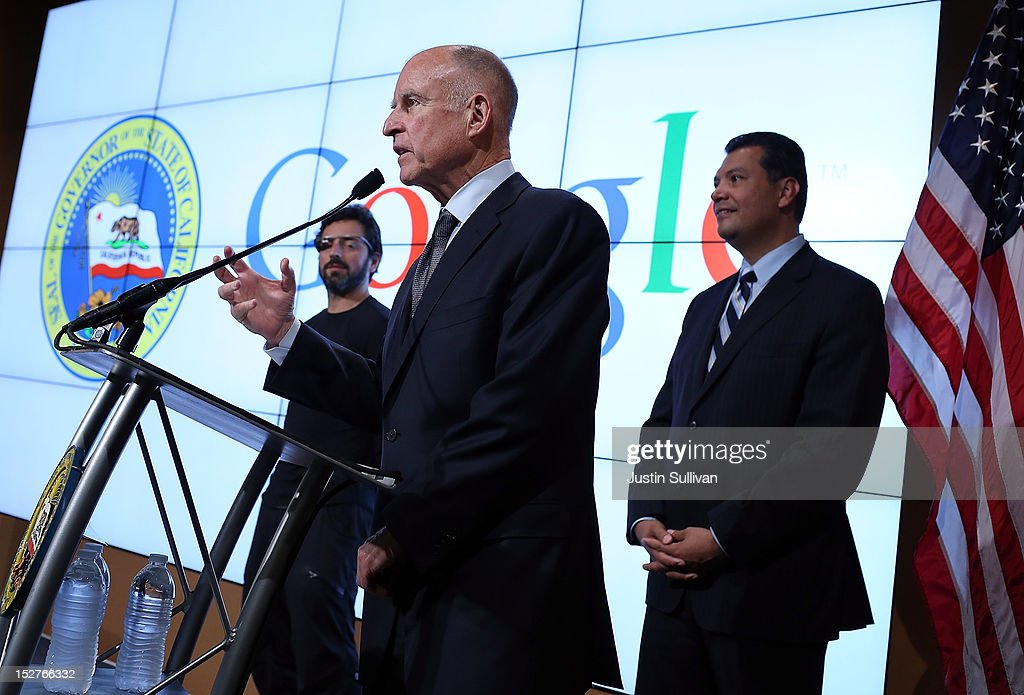 California Gov. <a gi-track='captionPersonalityLinkClicked' href=/galleries/search?phrase=Jerry+Brown&family=editorial&specificpeople=217599 ng-click='$event.stopPropagation()'>Jerry Brown</a> (C) speaks as California State Sen. Alex Padilla (R) and Google co-founder <a gi-track='captionPersonalityLinkClicked' href=/galleries/search?phrase=Sergey+Brin&family=editorial&specificpeople=753551 ng-click='$event.stopPropagation()'>Sergey Brin</a> (L) look on during a news conference at the Google headquarters on September 25, 2012 in Mountain View, California. California Gov. <a gi-track='captionPersonalityLinkClicked' href=/galleries/search?phrase=Jerry+Brown&family=editorial&specificpeople=217599 ng-click='$event.stopPropagation()'>Jerry Brown</a> signed State Senate Bill 1298 that allows driverless cars to operate on public roads for testing purposes. The bill also calls for the Department of Motor Vehicles to adopt regulations that govern licensing, bonding, testing and operation of the driverless vehicles before January 2015.
