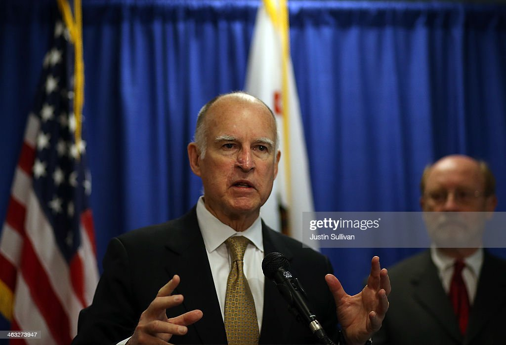 California Gov. <a gi-track='captionPersonalityLinkClicked' href=/galleries/search?phrase=Jerry+Brown&family=editorial&specificpeople=217599 ng-click='$event.stopPropagation()'>Jerry Brown</a> speaks during a news conference on January 17, 2014 in San Francisco, California. Gov. Brown declared a drought state of emergency for California as the state faces water shortfalls in what is expected to be the driest year in state history. Residents are being asked to voluntarily reduce water usage by 20%.