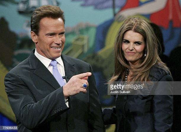 California governor Arnold Schwarzenegger and his wife Maria Shriver greet supporters before he is sworn in for second term as his wife Maria Shriver...