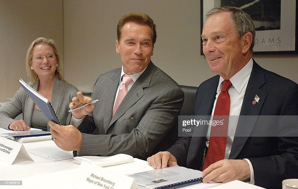 California Governor Arnold Schwarzenegger and New York Mayor Michael Bloomberg and Linda Adams Secretary of the California Environmental Protection...