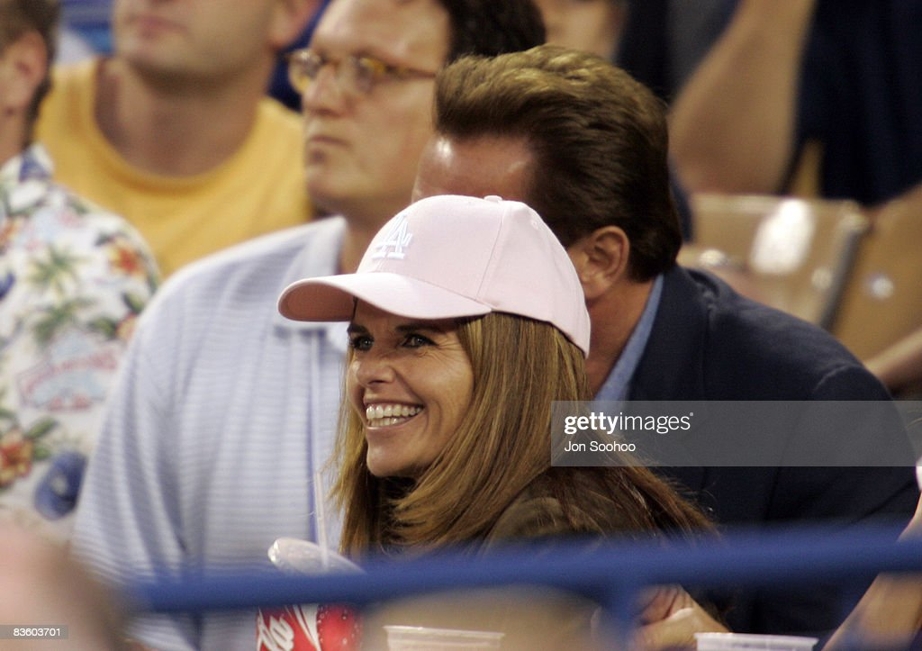 California Governor Arnold Schwarzenegger and wife Maria Shriver (left, in hat) attend the game againt St. Louis Cardinals at Dodger Stadium in Los Angeles, California. The Dodgers shut out the Cardinals 4-0 on Dodgers starting pitcher Jose Lima's complete game.