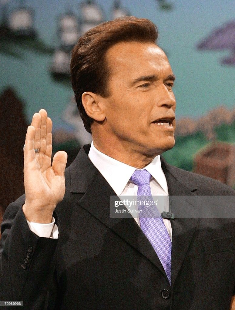 California governor Arnold Schwarzenegger is sworn in for second term on January 5, 2007 in Sacramento, California. Schwarzenegger will begin his second term as governor of California after a landslide victory over democratic challenger Phil Angelides in November of last year.