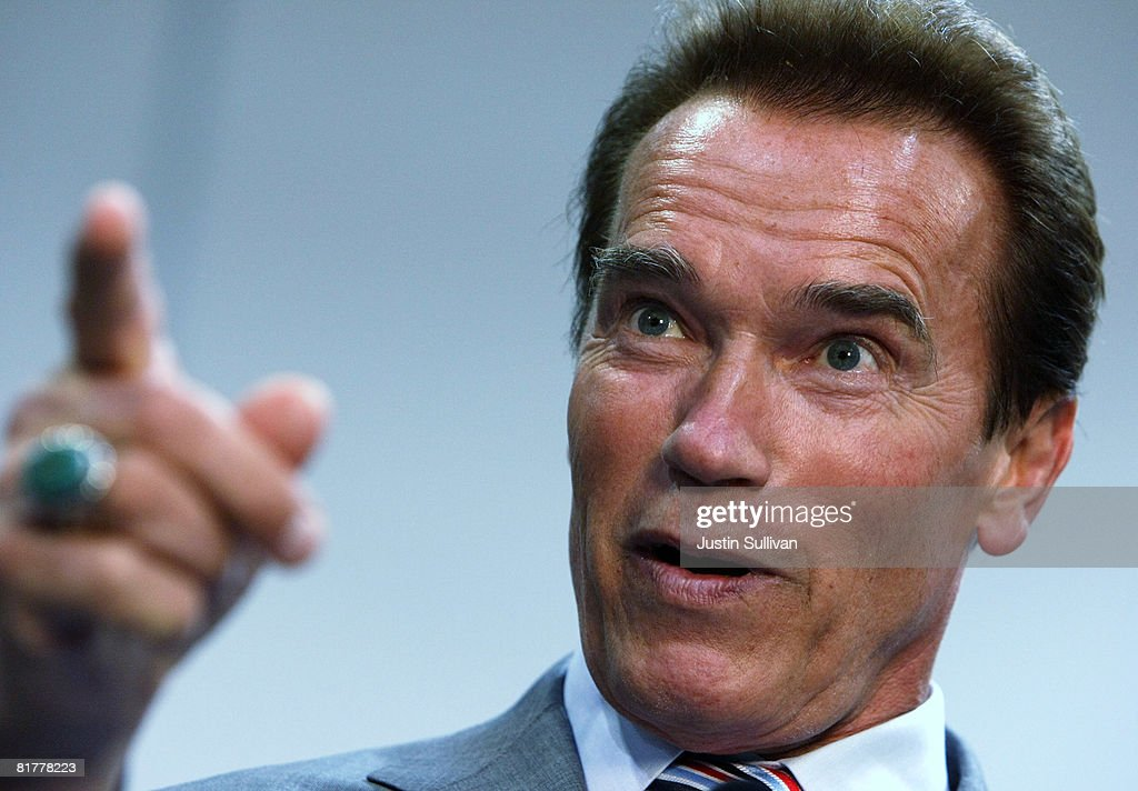 California governor <a gi-track='captionPersonalityLinkClicked' href=/galleries/search?phrase=Arnold+Schwarzenegger&family=editorial&specificpeople=156406 ng-click='$event.stopPropagation()'>Arnold Schwarzenegger</a> speaks during a news conference June 30, 2008 at Tesla Motors in San Carlos, California. Governor Schwarzenegger announced that electric car company Tesla Motors will build a new manufacturing facility in California to manufacture its all-electric Tesla Roadster. The $109,000 2009 Tesla Roadster zero emissions vehicle is capable of traveling nearly 250 miles on a single charge and is capable of going 0-60 miles per hour in 3.9 seconds.
