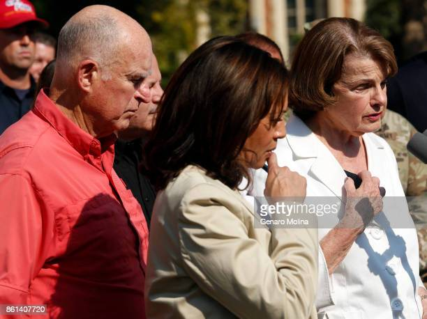 ROSA CA OCTOBER 14 2017 California Governor Jerry Brown and California Senators Kamala Harris and Diane Feinstein talk with the media after touring...