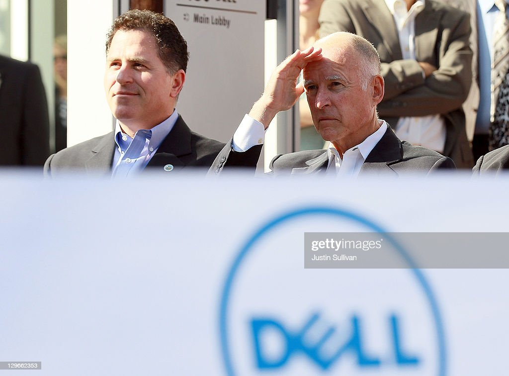 California governor <a gi-track='captionPersonalityLinkClicked' href=/galleries/search?phrase=Jerry+Brown&family=editorial&specificpeople=217599 ng-click='$event.stopPropagation()'>Jerry Brown</a> (R) and Dell chairman and CEO <a gi-track='captionPersonalityLinkClicked' href=/galleries/search?phrase=Michael+Dell&family=editorial&specificpeople=240605 ng-click='$event.stopPropagation()'>Michael Dell</a> look on during a ribbon cutting ceremony to open the new Dell research and development facility on October 19, 2011 in Santa Clara, California. California governor <a gi-track='captionPersonalityLinkClicked' href=/galleries/search?phrase=Jerry+Brown&family=editorial&specificpeople=217599 ng-click='$event.stopPropagation()'>Jerry Brown</a> and Dell Chairman and CEO <a gi-track='captionPersonalityLinkClicked' href=/galleries/search?phrase=Michael+Dell&family=editorial&specificpeople=240605 ng-click='$event.stopPropagation()'>Michael Dell</a> attended a ribbon cutting to open the new Dell research and development facility that was followed by a career fair to hire hundreds of employees for the new facilty.