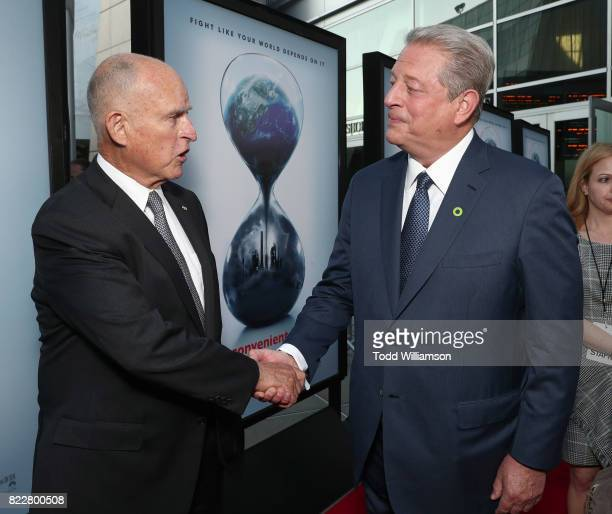 California Governor Jerry Brown and Former Vice President Al Gore attend a screening of Paramount Pictures' 'An Inconvenient Sequel Truth To Power'at...