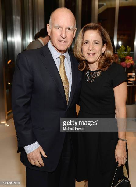 California Governor Jerry Brown and his wife Anne Gust Brown attend Foster Care Counts Fundraiser To Benefit LA Foster Youth on November 21 2013 in...