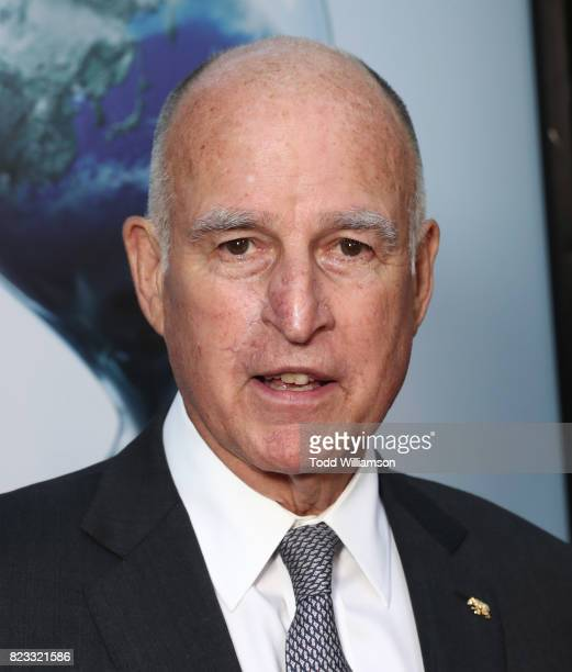 California Governor Jerry Brown attends a screening of Paramount Pictures' 'An Inconvenient Sequel Truth To Power'at ArcLight Hollywood on July 25...