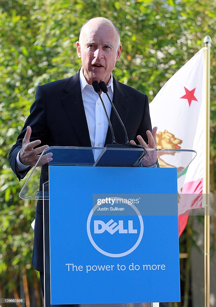 California governor <a gi-track='captionPersonalityLinkClicked' href=/galleries/search?phrase=Jerry+Brown&family=editorial&specificpeople=217599 ng-click='$event.stopPropagation()'>Jerry Brown</a> speaks during a ribbon cutting ceremony to open the new Dell research and development facility on October 19, 2011 in Santa Clara, California. California governor <a gi-track='captionPersonalityLinkClicked' href=/galleries/search?phrase=Jerry+Brown&family=editorial&specificpeople=217599 ng-click='$event.stopPropagation()'>Jerry Brown</a> and Dell Chairman and CEO Michael Dell attended a ribbon cutting to open the new Dell research and development facility that was followed by a career fair to hire hundreds of employees for the new facilty.