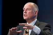 California governor Jerry Brown talks about new efforts to cope with climate change during a panel discussion at the 18th annual Milken Institute...