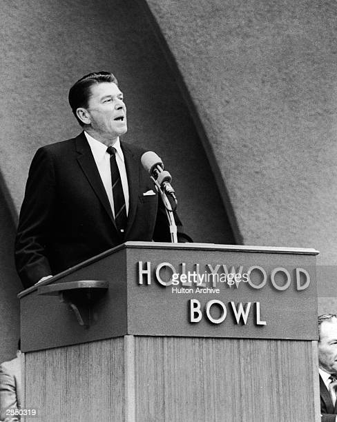 California governor Ronald Reagan addresses the Israel Rally from a podium on stage at the Hollywood Bowl Hollywood California June 11 1967