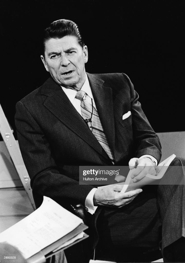 California governor Ronald Reagan speaks during an interview circa 1972