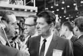 California governor Ronald Reagan speaks to journalist John Chancellor on the floor of the Republican National Convention Miami Beach Florida August...