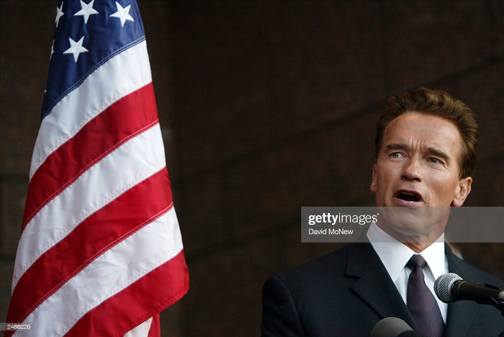California gubernatorial candidate <a gi-track='captionPersonalityLinkClicked' href=/galleries/search?phrase=Arnold+Schwarzenegger&family=editorial&specificpeople=156406 ng-click='$event.stopPropagation()'>Arnold Schwarzenegger</a> speaks at a candle lighting ceremony in honor of those who died in the September 11 terror attacks at the Simon Wiesenthal Center September 11, 2003 in Los Angeles, California. Schwarzenegger is running to replace current governor Gray Davis in the October 7 recall election.