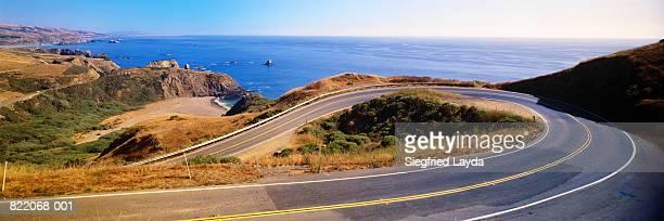 USA, California, Highway 1 coast road and seascape