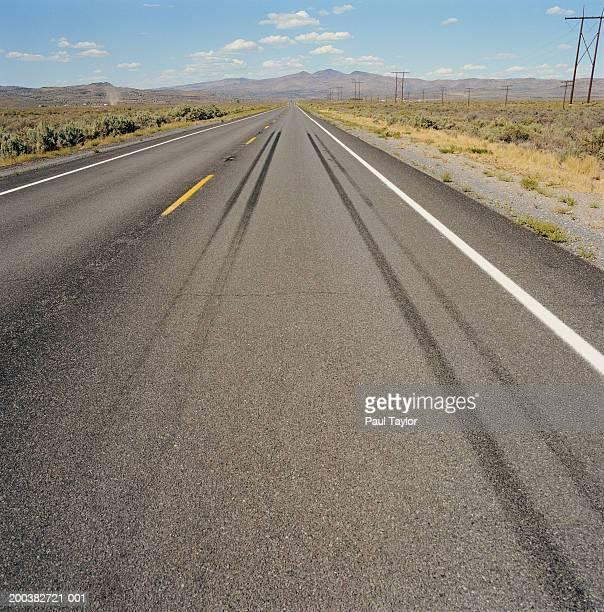 USA, California, Highway 395, tyre-marked desert road