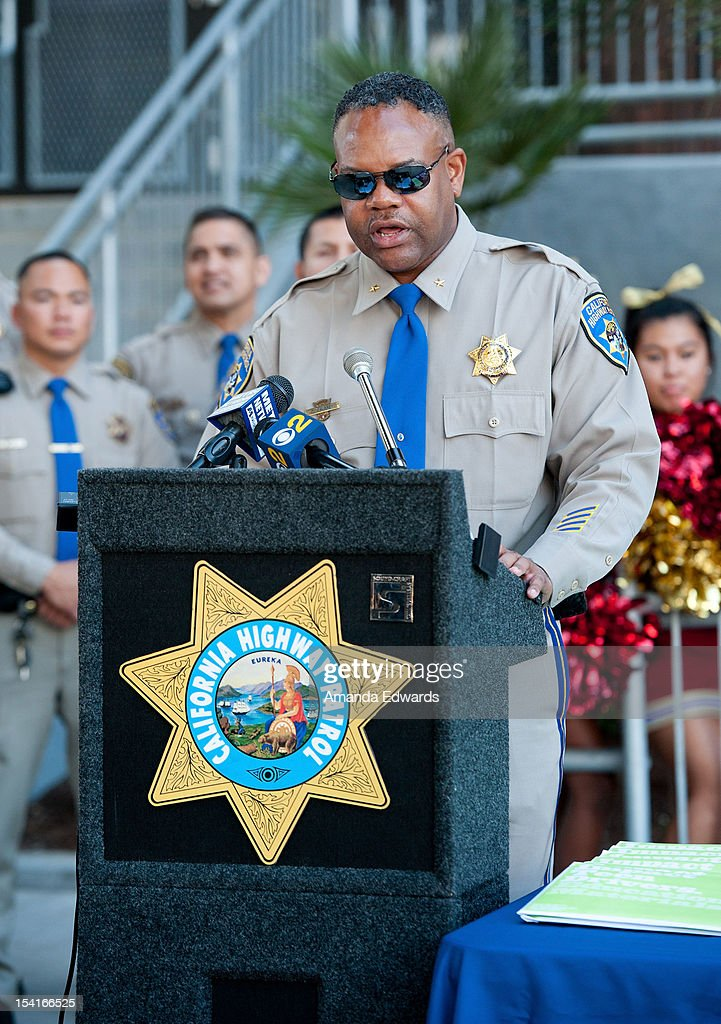 California Highway Patrol Assistant Chief Calvin Aubrey attends the Mercedes-Benz Driving Academy Kicks-Off National Teen Driver Safety Week With Actress Hailee Steinfeld at Fairfax High School on October 15, 2012 in Los Angeles, California.