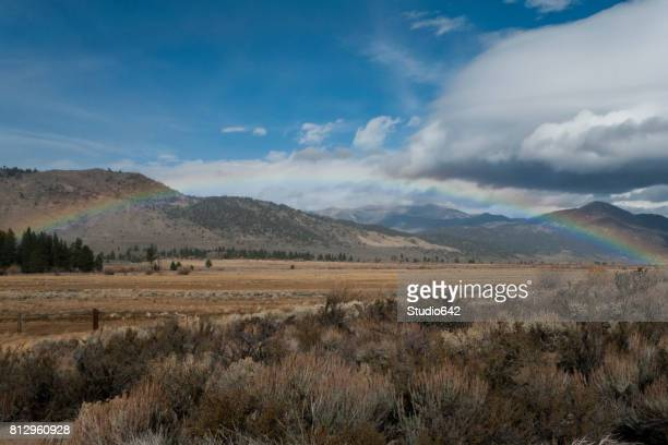 California Hills and Valley with Rainbow