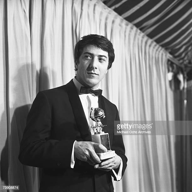 1968 California Hollywood Dustin Hoffman at the Golden Globes with his award for Most Promising Newcomer Male for his performance in The Graduate
