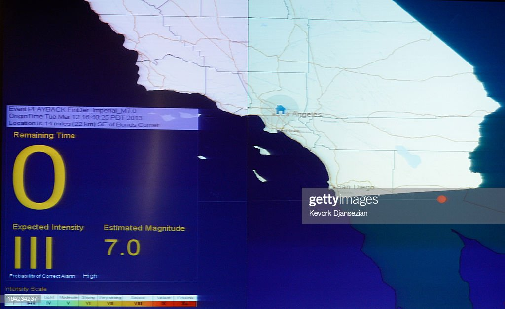 California Integrated Seismic Network's Earthquake Ready Warning Demonstration System displays an alarm on a large screen inside the Los Angeles County Emergency Operations Center before a simulated magnitude 7.0 aftershock following a simulated 7.8 magnitude earthquake during a functional exercise at the Los Angeles County Emergency Operations Center (CEOC) hosted by The County of Los Angeles Office of Emergency Management on March 21, 2013 in Los Angeles, California. The training exercise featured the California Integrated Seismic Network's Earthquake Ready Warning Demonstration System, which included 88 cities, 137 unincorporated communities, 200 schools and several nonprofit organizations.