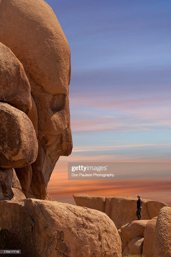 USA, California, Joshua Tree National Park, Woman hiker viewing Face Rock