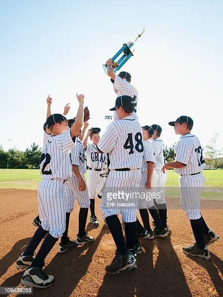 USA, California, Ladera Ranch, Boys (10-11) from Little league celebrating after winning