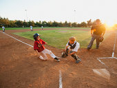 USA, California, Ladera Ranch, boys (10-11) playing baseball