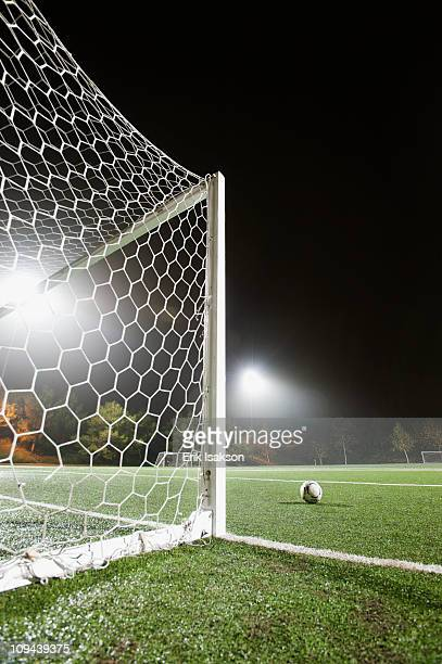 USA, California, Ladera Ranch, Football in front of goal