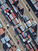 USA, California, Long Beach, aerial view of cargo in port