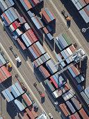 USA, California, Long Beach, aerial view of cargo in port