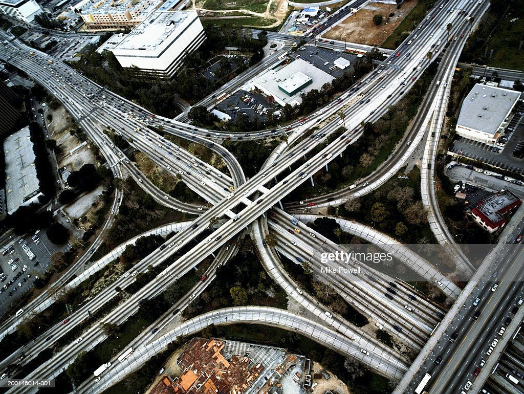 USA, California, Los Angeles, 110 and 101 freeway interchange : Stock Photo