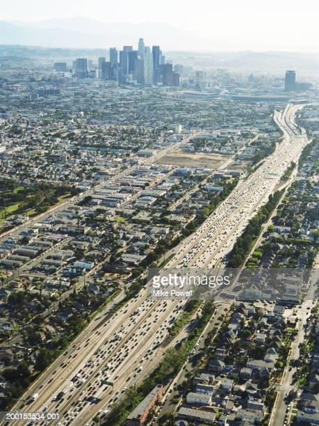 USA, Kalifornien, Los Angeles, Luftaufnahme von 10 Freeway