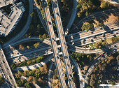 USA, California, Los Angeles, aerial view of  101 and 110 Freeways