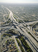 USA, California, Los Angeles, aerial view of 105 and 405 Freeways