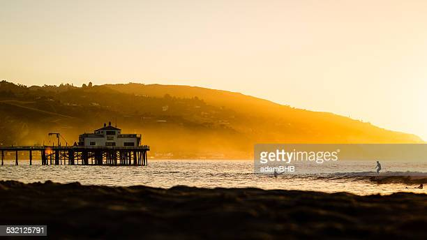USA, California, Los Angeles County, Malibu, Pier at sunrise