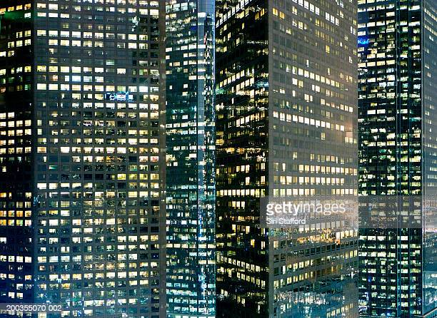 USA, California, Los Angeles, downtown buildings at night