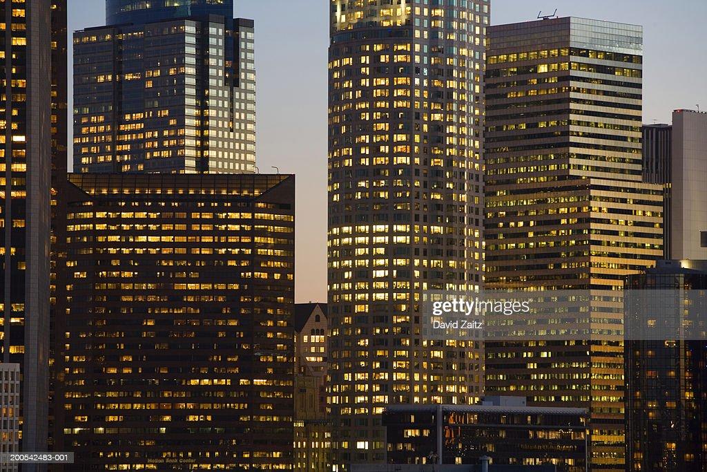 USA, California, Los Angeles, downtown skyline, dusk : Stock Photo