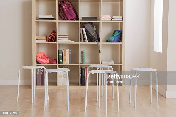 USA, California, Los Angeles, empty classroom with stools
