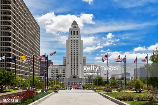 Usa California Los Angeles Grand Park And Los Angeles City