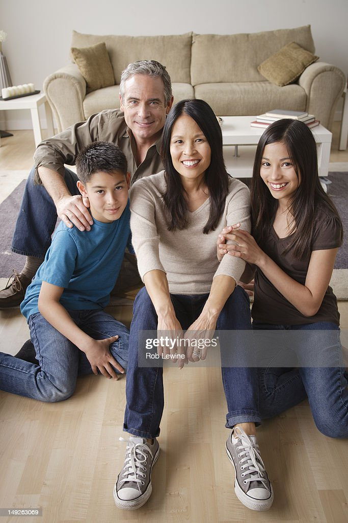 USA, California, Los Angeles, Portrait of cheerful family : Stock Photo