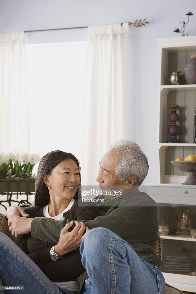 USA, California, Los Angeles, Portrait of couple embracing : Stock Photo