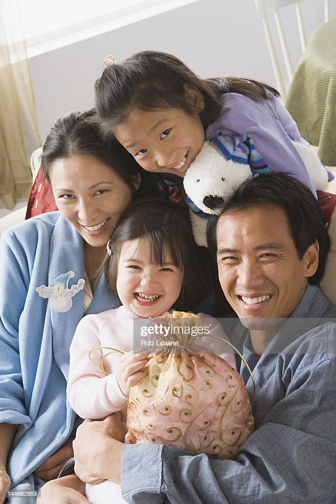 USA, California, Los Angeles, Portrait of family with two daughters (10-11) : Stock Photo