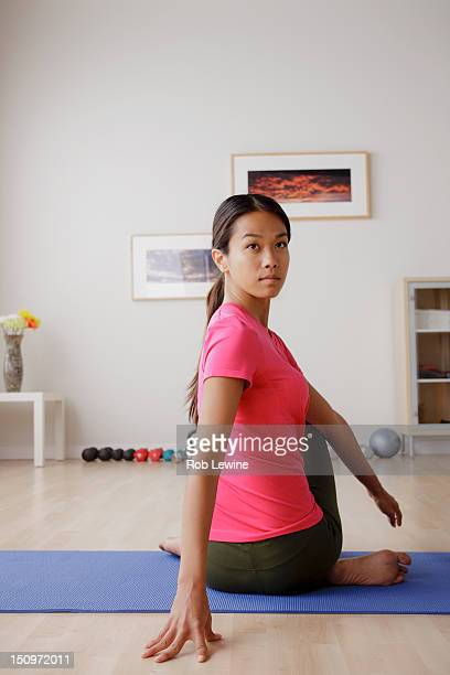 USA, California, Los Angeles, Portrait of young woman during fitness