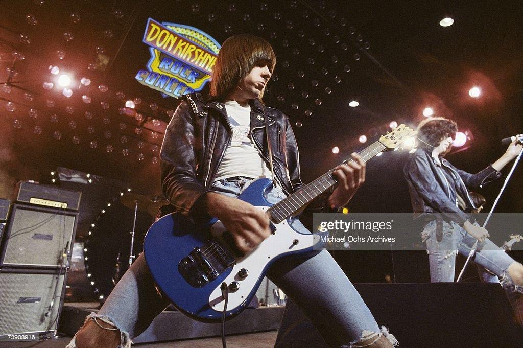1977, California, Los Angeles, Ramones, L-R: Johnny Ramone (John Cummings), Joey Ramone (Jeffrey Hyman) Appearing on Don Kirshners Rock Concert.